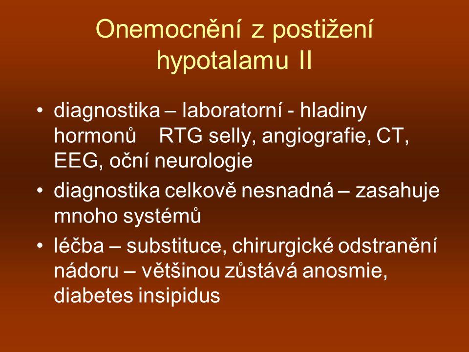 Onemocnění z postižení hypotalamu II diagnostika – laboratorní - hladiny hormonů RTG selly, angiografie, CT, EEG, oční neurologie diagnostika celkově