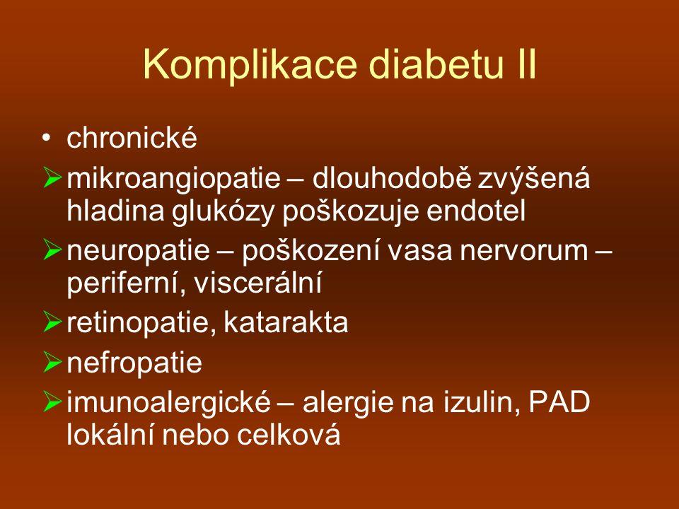 Komplikace diabetu II chronické  mikroangiopatie – dlouhodobě zvýšená hladina glukózy poškozuje endotel  neuropatie – poškození vasa nervorum – peri