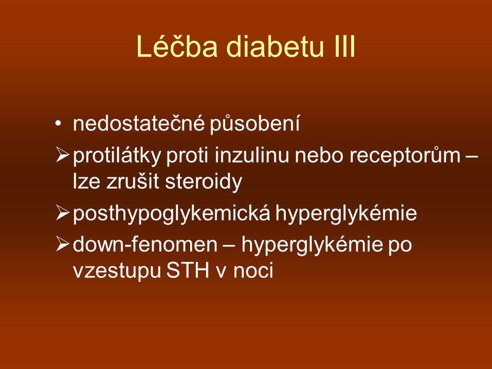 Léčba diabetu III nedostatečné působení  protilátky proti inzulinu nebo receptorům – lze zrušit steroidy  posthypoglykemická hyperglykémie  down-fe