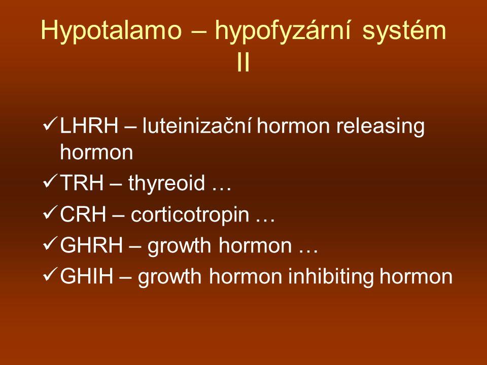 Hypotalamo – hypofyzární systém III zadní lalok hypofýzy – neurohypofýza  ADH – antidiuretický hormon stimulem je zvýšení osmolality, pokles ECT, hypovolémie  oxytocin – kontrakce hladkého svalstva dělohy při porodu i při koitu, zlepšení transportu spermií, ejekce mléka u kojících sekreci stimuluje dráždění prsních bradavek, genitální krajiny, tlumí alkohol