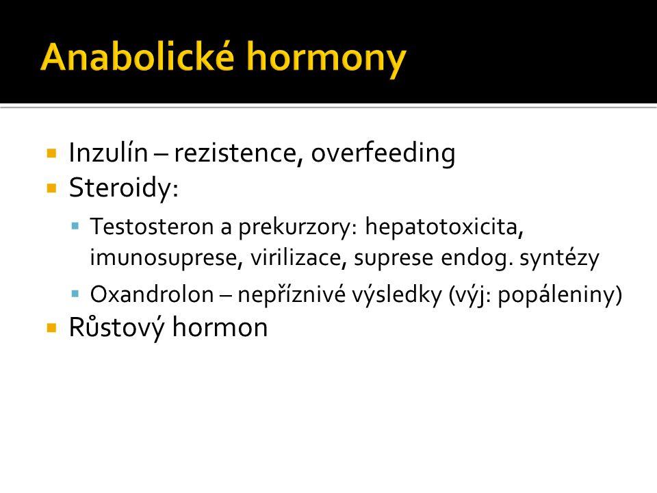  Inzulín – rezistence, overfeeding  Steroidy:  Testosteron a prekurzory: hepatotoxicita, imunosuprese, virilizace, suprese endog.
