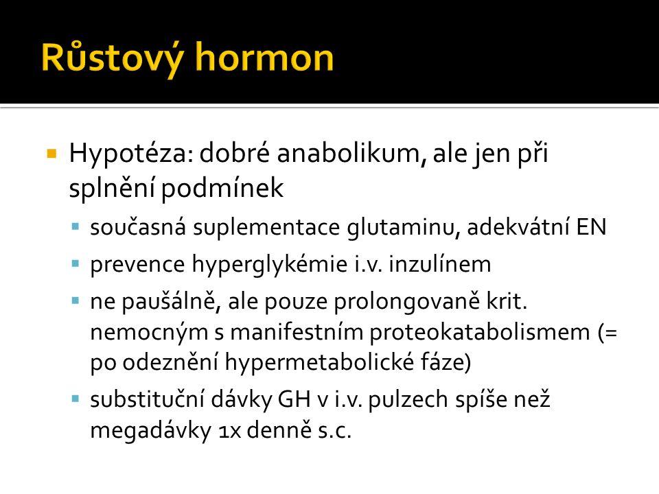  Hypotéza: dobré anabolikum, ale jen při splnění podmínek  současná suplementace glutaminu, adekvátní EN  prevence hyperglykémie i.v.