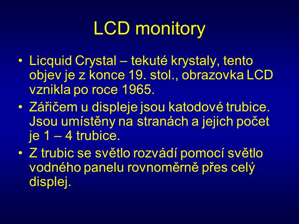 LCD monitory Licquid Crystal – tekuté krystaly, tento objev je z konce 19.
