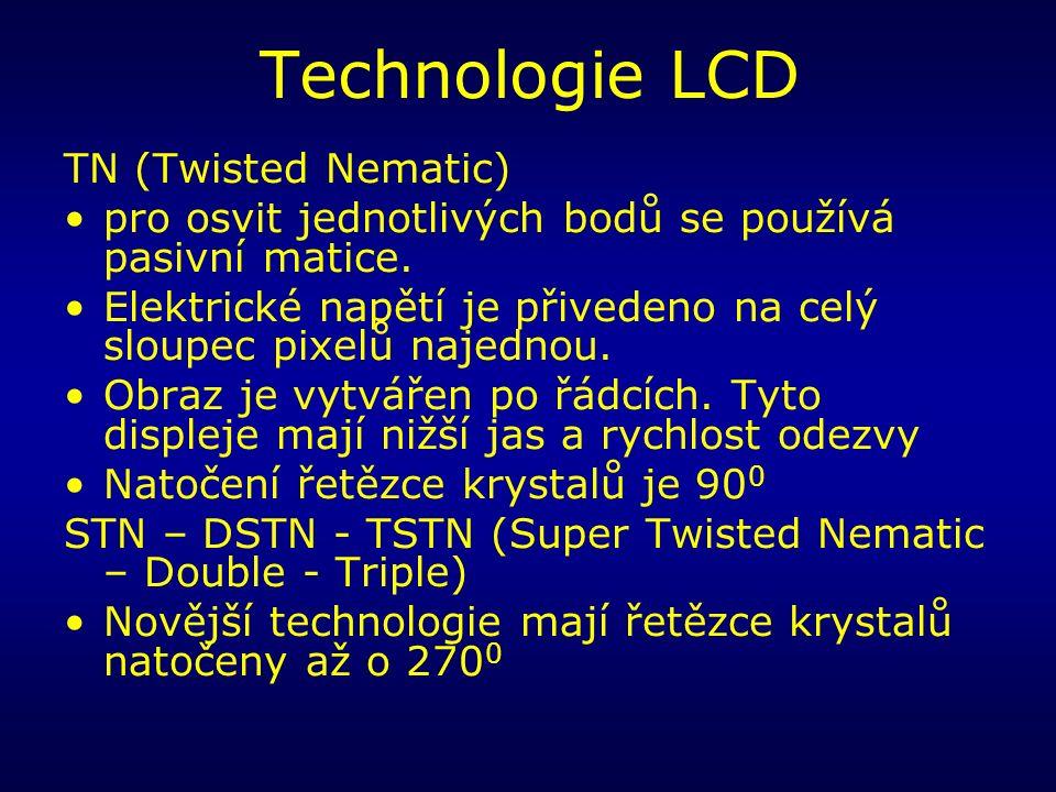 Technologie LCD TN (Twisted Nematic) pro osvit jednotlivých bodů se používá pasivní matice.