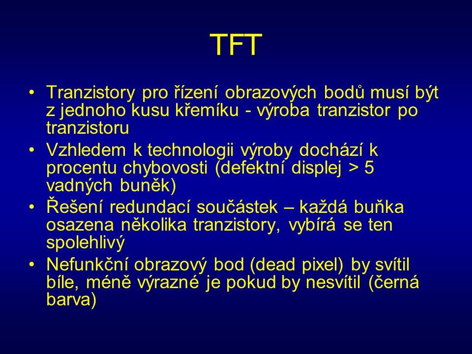 TFT Tranzistory pro řízení obrazových bodů musí být z jednoho kusu křemíku - výroba tranzistor po tranzistoru Vzhledem k technologii výroby dochází k procentu chybovosti (defektní displej > 5 vadných buněk) Řešení redundací součástek – každá buňka osazena několika tranzistory, vybírá se ten spolehlivý Nefunkční obrazový bod (dead pixel) by svítil bíle, méně výrazné je pokud by nesvítil (černá barva)