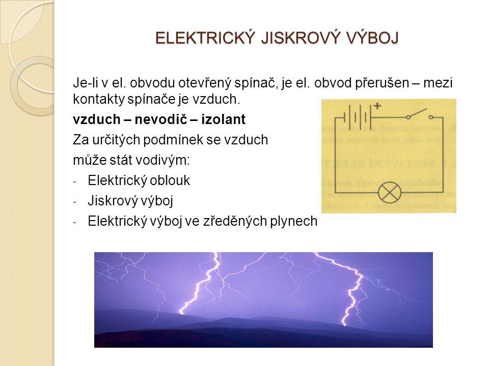 ELEKTRICKÝ JISKROVÝ VÝBOJ Je-li v el. obvodu otevřený spínač, je el. obvod přerušen – mezi kontakty spínače je vzduch. vzduch – nevodič – izolant Za u