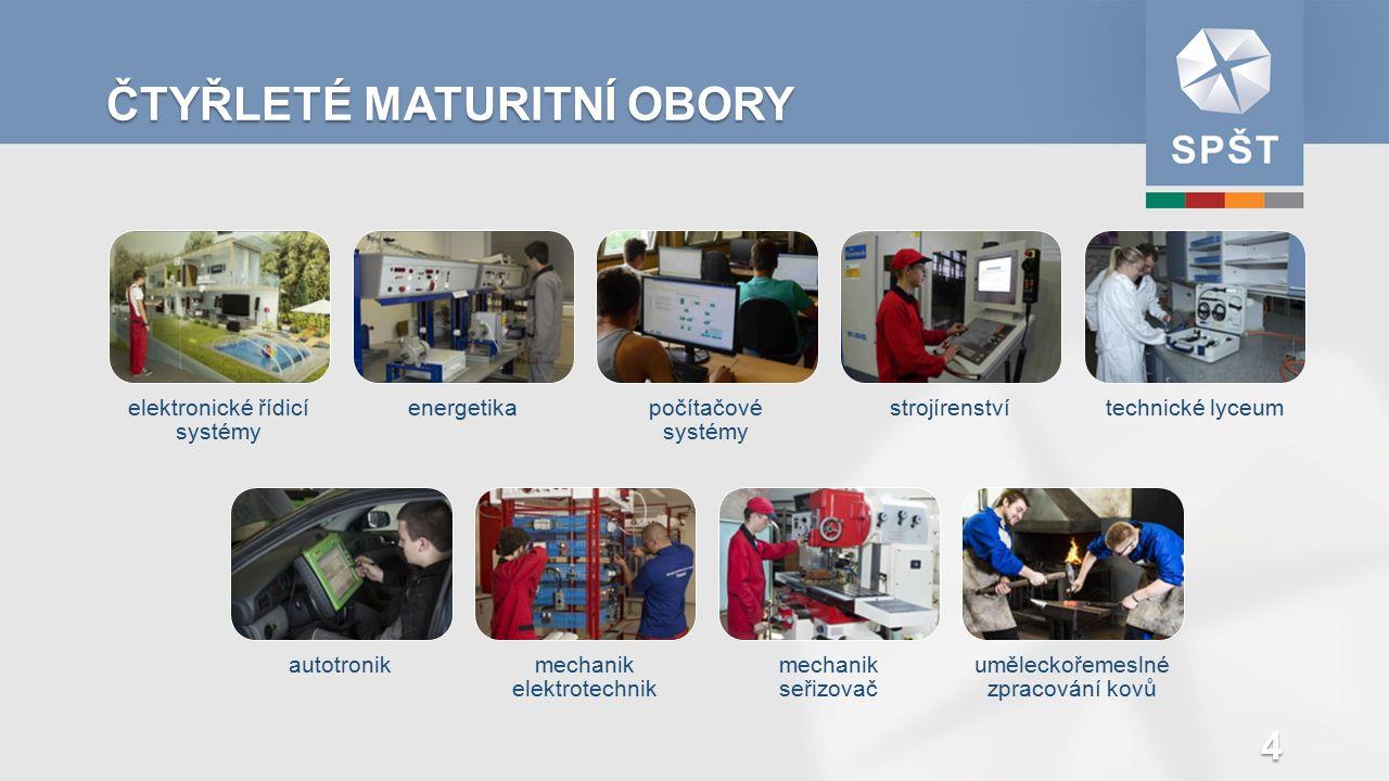TŘÍLETÉ UČEBNÍ OBORY autoelektrikářautomechanikelektrikář pro silnoproud karosář kovářmechanik elektronických zařízení obráběč kovů pro CNC stroje opravář zemědělských strojů 5