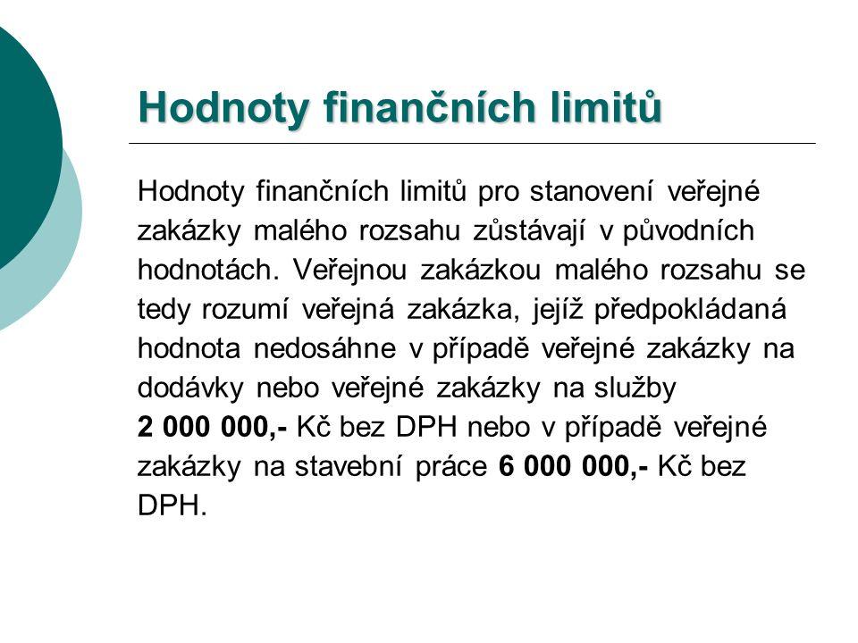 Hodnoty finančních limitů Hodnoty finančních limitů pro stanovení veřejné zakázky malého rozsahu zůstávají v původních hodnotách.