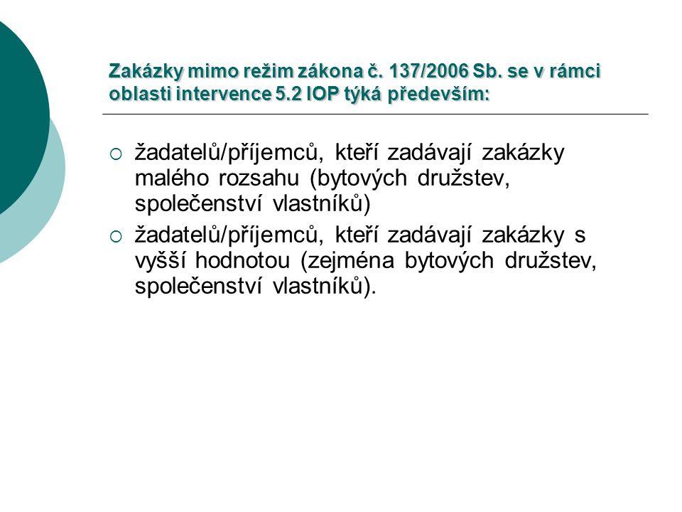 Zakázky mimo režim zákona č. 137/2006 Sb.