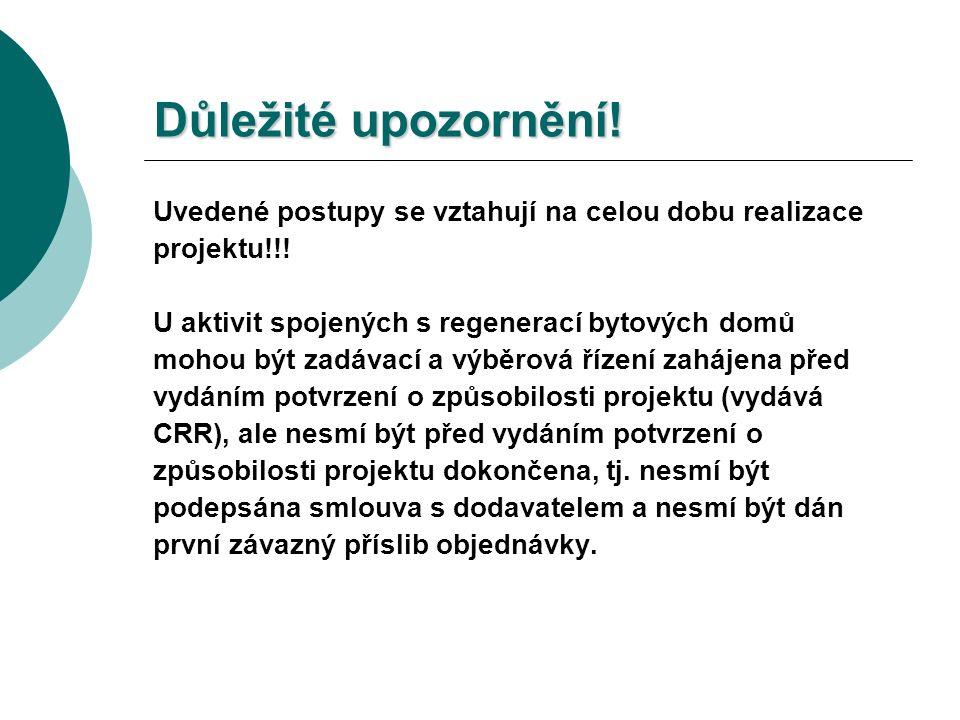Důležité upozornění. Uvedené postupy se vztahují na celou dobu realizace projektu!!.