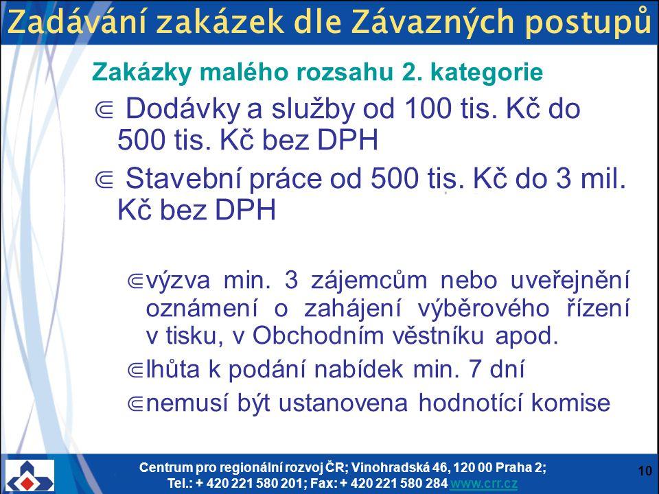 Centrum pro regionální rozvoj ČR; Vinohradská 46, 120 00 Praha 2; Tel.: + 420 221 580 201; Fax: + 420 221 580 284 www.crr.czwww.crr.cz 10 Zakázky malého rozsahu 2.
