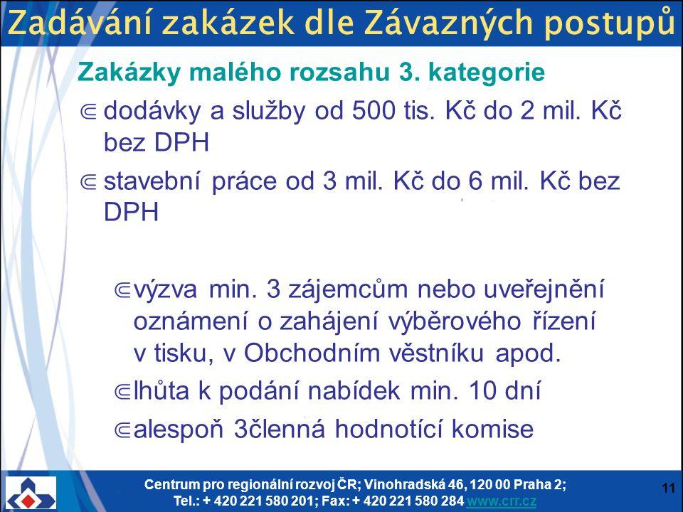 Centrum pro regionální rozvoj ČR; Vinohradská 46, 120 00 Praha 2; Tel.: + 420 221 580 201; Fax: + 420 221 580 284 www.crr.czwww.crr.cz 11 Zakázky malého rozsahu 3.