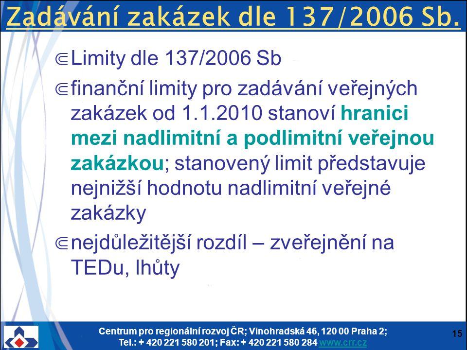 Centrum pro regionální rozvoj ČR; Vinohradská 46, 120 00 Praha 2; Tel.: + 420 221 580 201; Fax: + 420 221 580 284 www.crr.czwww.crr.cz 15 Zadávání zakázek dle 137/2006 Sb.