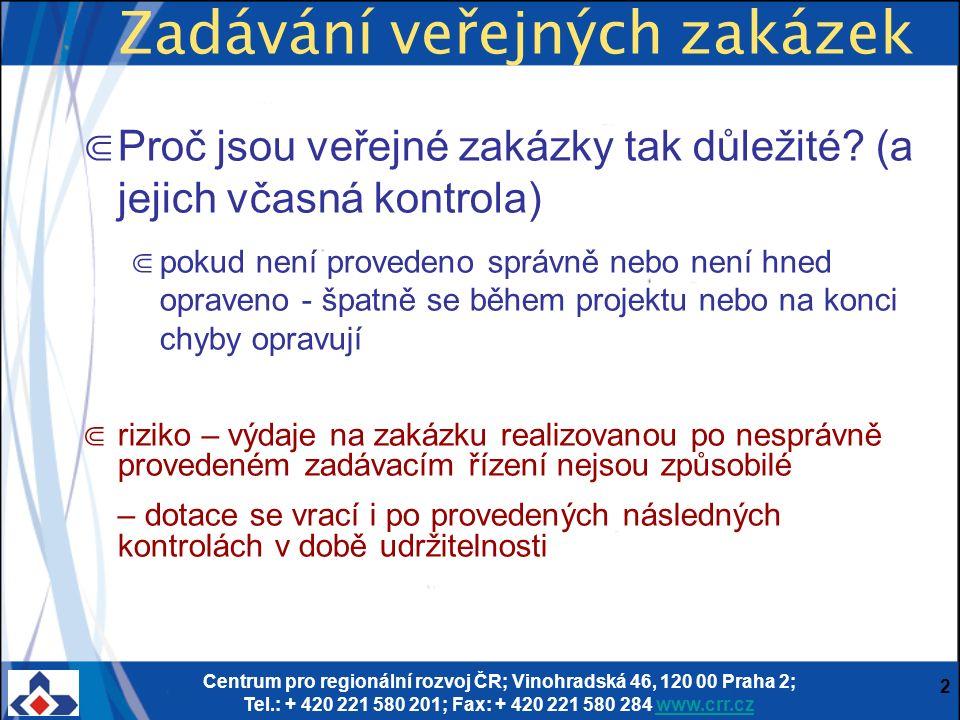 Centrum pro regionální rozvoj ČR; Vinohradská 46, 120 00 Praha 2; Tel.: + 420 221 580 201; Fax: + 420 221 580 284 www.crr.czwww.crr.cz 2 Zadávání veřejných zakázek ⋐ Proč jsou veřejné zakázky tak důležité.