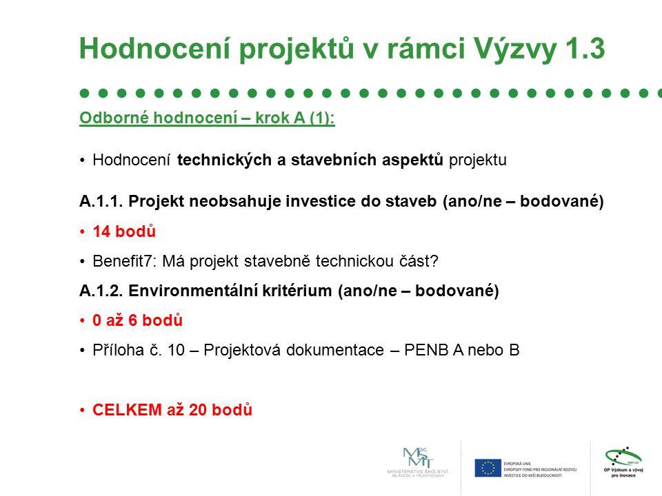 Hodnocení projektů v rámci Výzvy 1.3 Odborné hodnocení – krok A (1): Hodnocení technických a stavebních aspektů projektu A.1.1.
