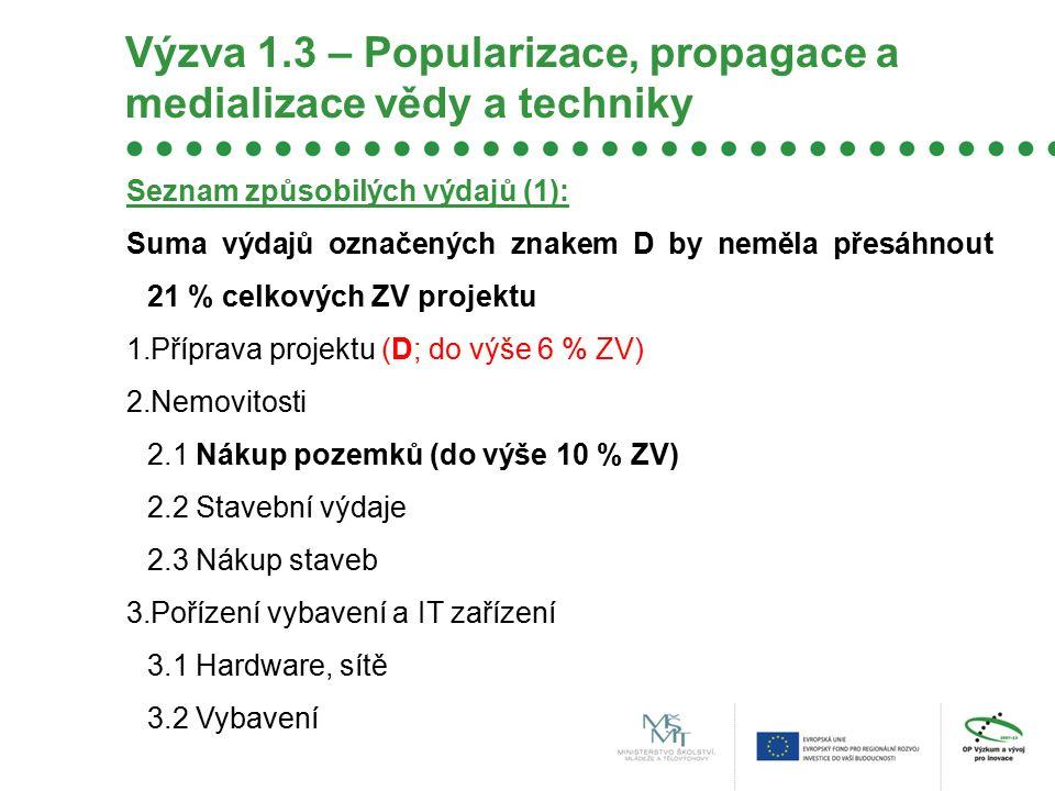 Výzva 1.3 – Popularizace, propagace a medializace vědy a techniky Seznam způsobilých výdajů (1): Suma výdajů označených znakem D by neměla přesáhnout 21 % celkových ZV projektu 1.Příprava projektu (D; do výše 6 % ZV) 2.Nemovitosti 2.1 Nákup pozemků (do výše 10 % ZV) 2.2 Stavební výdaje 2.3 Nákup staveb 3.Pořízení vybavení a IT zařízení 3.1 Hardware, sítě 3.2 Vybavení