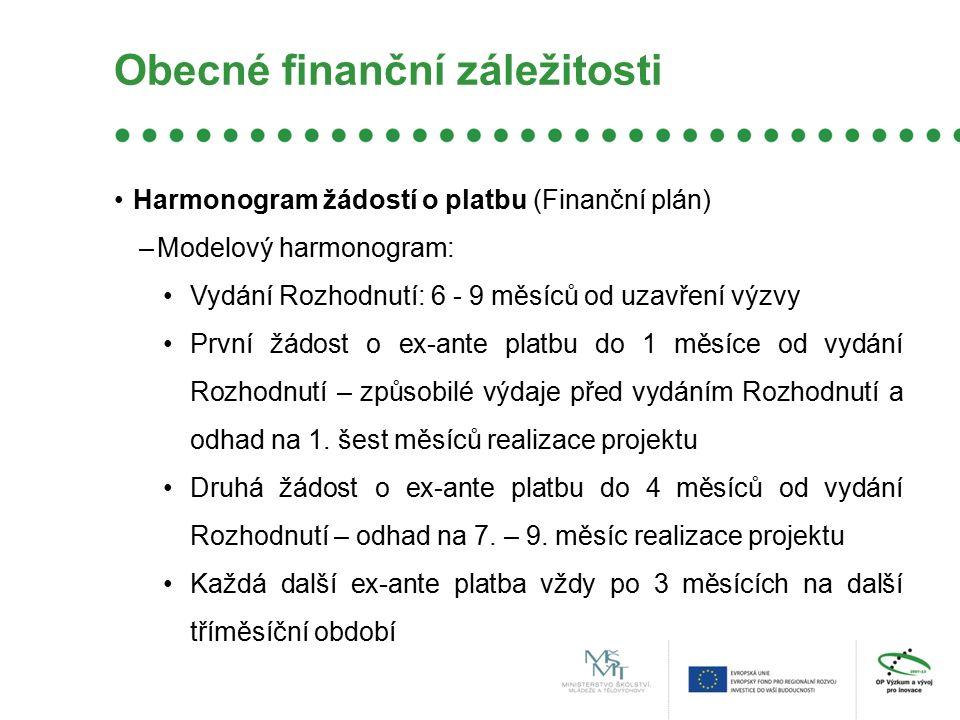 Obecné finanční záležitosti Harmonogram žádostí o platbu (Finanční plán) –Modelový harmonogram: Vydání Rozhodnutí: 6 - 9 měsíců od uzavření výzvy Prvn