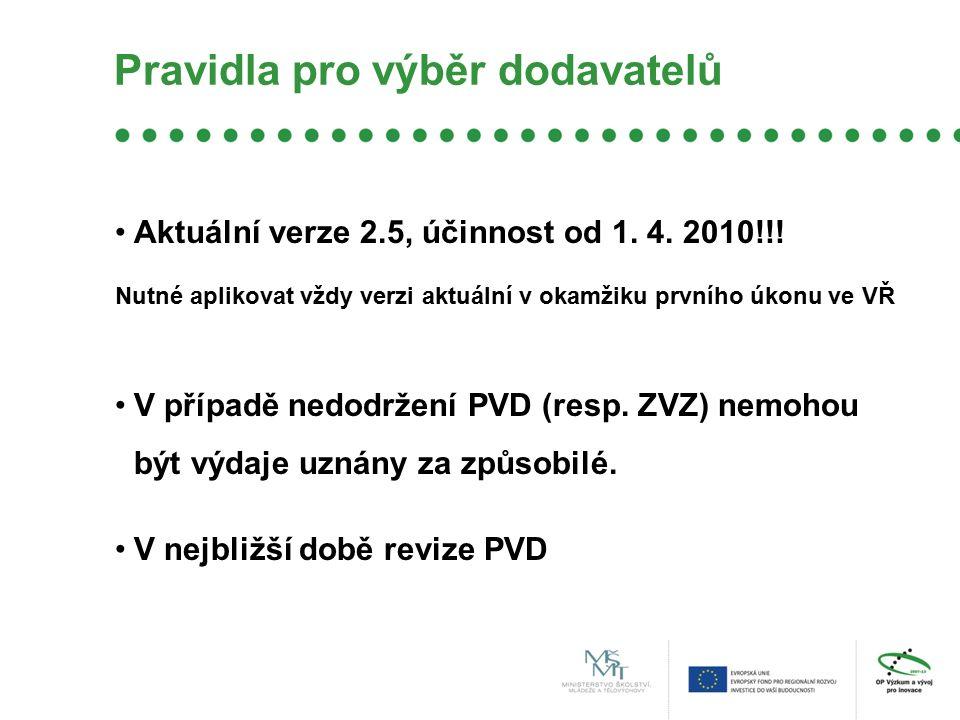 Aktuální verze 2.5, účinnost od 1. 4. 2010!!! Nutné aplikovat vždy verzi aktuální v okamžiku prvního úkonu ve VŘ V případě nedodržení PVD (resp. ZVZ)