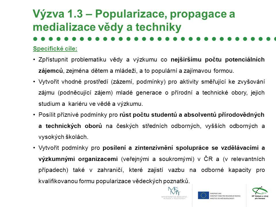 Výzva 1.3 – Popularizace, propagace a medializace vědy a techniky Specifické cíle: Zpřístupnit problematiku vědy a výzkumu co nejširšímu počtu potenciálních zájemců, zejména dětem a mládeži, a to populární a zajímavou formou.