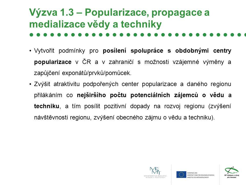Výzva 1.3 – Popularizace, propagace a medializace vědy a techniky Vytvořit podmínky pro posílení spolupráce s obdobnými centry popularizace v ČR a v z