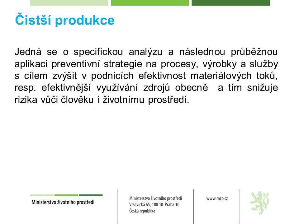 Čistší produkce Jedná se o specifickou analýzu a následnou průběžnou aplikaci preventivní strategie na procesy, výrobky a služby s cílem zvýšit v podnicích efektivnost materiálových toků, resp.