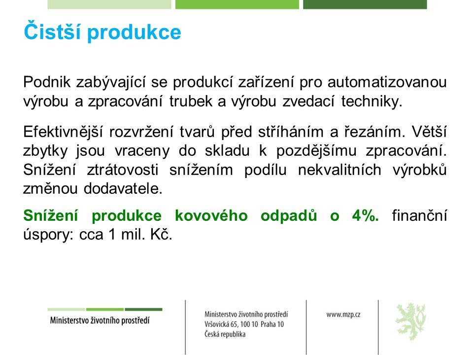 Čistší produkce Podnik zabývající se produkcí zařízení pro automatizovanou výrobu a zpracování trubek a výrobu zvedací techniky.