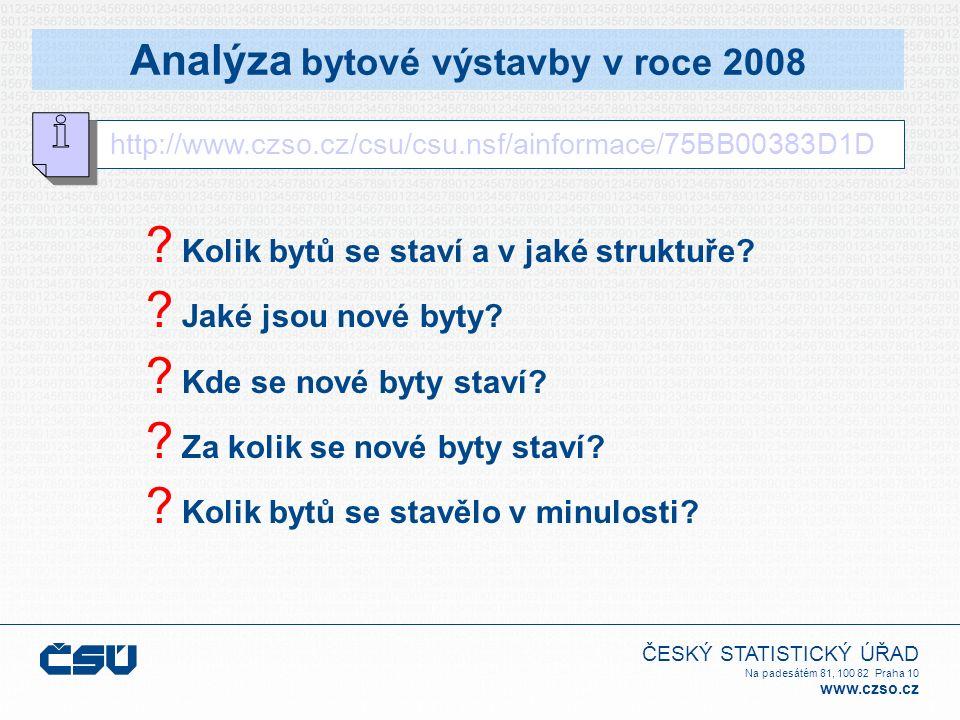 ČESKÝ STATISTICKÝ ÚŘAD Na padesátém 81, 100 82 Praha 10 www.czso.cz Analýza bytové výstavby v roce 2008 http://www.czso.cz/csu/csu.nsf/ainformace/75BB00383D1D .
