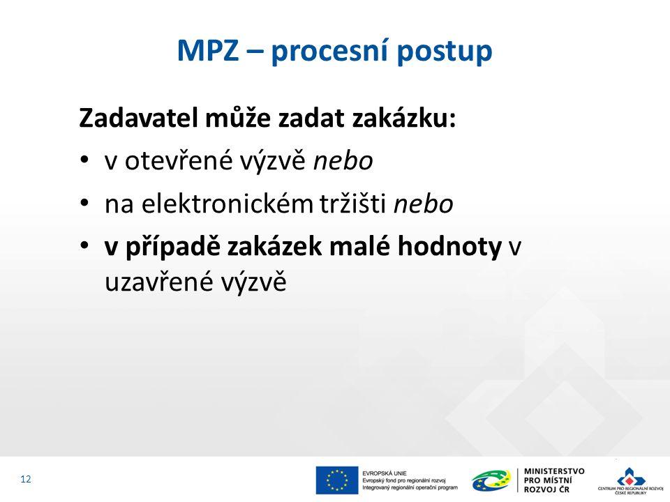 Zadavatel může zadat zakázku: v otevřené výzvě nebo na elektronickém tržišti nebo v případě zakázek malé hodnoty v uzavřené výzvě MPZ – procesní postup 12