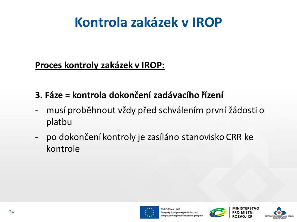 Proces kontroly zakázek v IROP: 3.