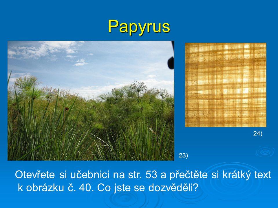 Papyrus Otevřete si učebnici na str. 53 a přečtěte si krátký text k obrázku č. 40. Co jste se dozvěděli? 23) 24)