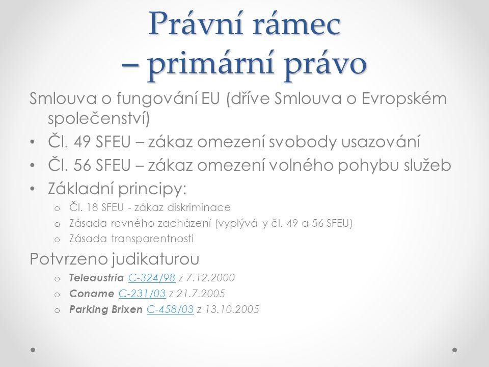 Právní rámec – primární právo Smlouva o fungování EU (dříve Smlouva o Evropském společenství) Čl.