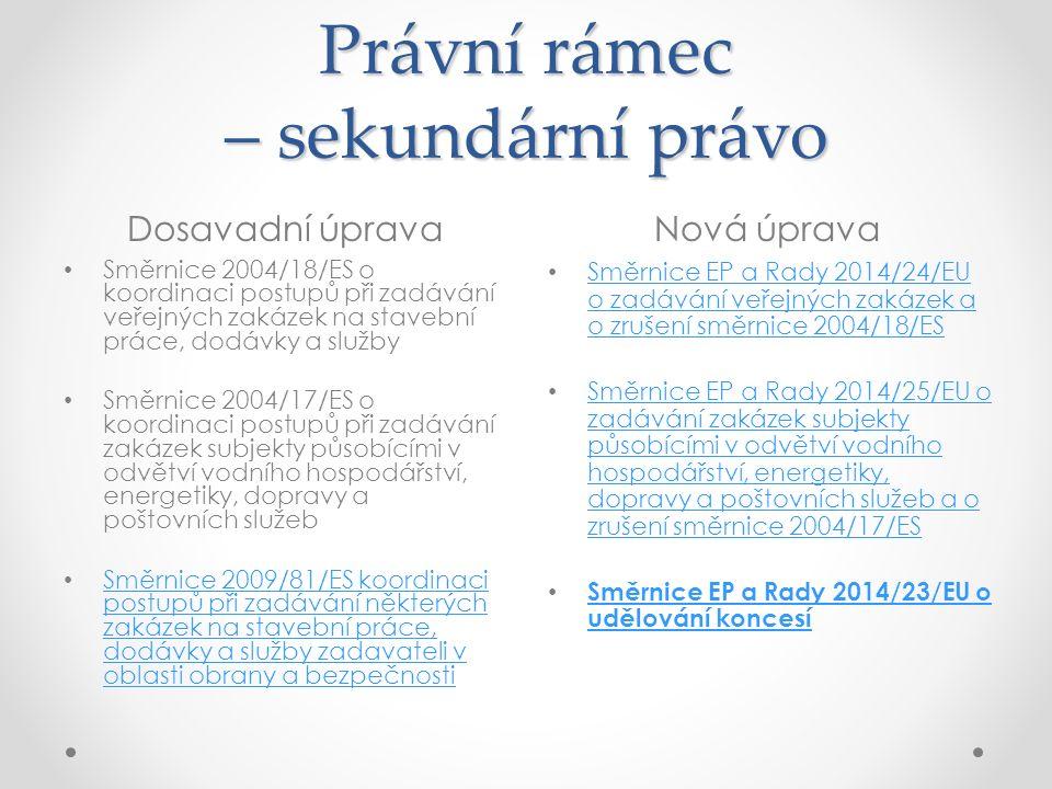 Právní rámec – sekundární právo Dosavadní úpravaNová úprava Směrnice 2004/18/ES o koordinaci postupů při zadávání veřejných zakázek na stavební práce, dodávky a služby Směrnice 2004/17/ES o koordinaci postupů při zadávání zakázek subjekty působícími v odvětví vodního hospodářství, energetiky, dopravy a poštovních služeb Směrnice 2009/81/ES koordinaci postupů při zadávání některých zakázek na stavební práce, dodávky a služby zadavateli v oblasti obrany a bezpečnosti Směrnice 2009/81/ES koordinaci postupů při zadávání některých zakázek na stavební práce, dodávky a služby zadavateli v oblasti obrany a bezpečnosti Směrnice EP a Rady 2014/24/EU o zadávání veřejných zakázek a o zrušení směrnice 2004/18/ES Směrnice EP a Rady 2014/24/EU o zadávání veřejných zakázek a o zrušení směrnice 2004/18/ES Směrnice EP a Rady 2014/25/EU o zadávání zakázek subjekty působícími v odvětví vodního hospodářství, energetiky, dopravy a poštovních služeb a o zrušení směrnice 2004/17/ES Směrnice EP a Rady 2014/25/EU o zadávání zakázek subjekty působícími v odvětví vodního hospodářství, energetiky, dopravy a poštovních služeb a o zrušení směrnice 2004/17/ES Směrnice EP a Rady 2014/23/EU o udělování koncesí Směrnice EP a Rady 2014/23/EU o udělování koncesí