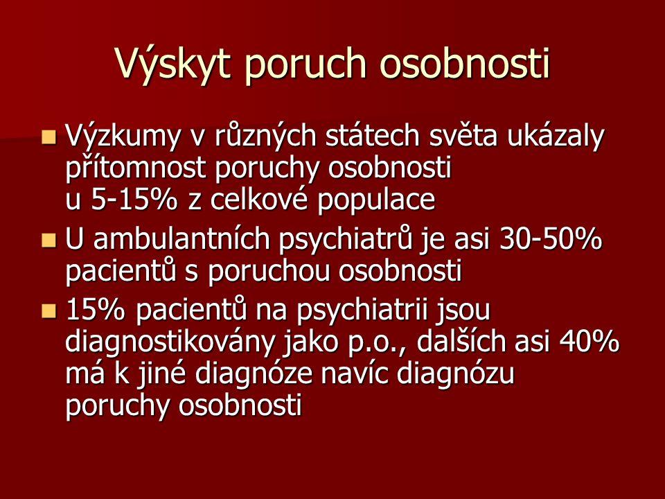 Výskyt poruch osobnosti Výzkumy v různých státech světa ukázaly přítomnost poruchy osobnosti u 5-15% z celkové populace Výzkumy v různých státech světa ukázaly přítomnost poruchy osobnosti u 5-15% z celkové populace U ambulantních psychiatrů je asi 30-50% pacientů s poruchou osobnosti U ambulantních psychiatrů je asi 30-50% pacientů s poruchou osobnosti 15% pacientů na psychiatrii jsou diagnostikovány jako p.o., dalších asi 40% má k jiné diagnóze navíc diagnózu poruchy osobnosti 15% pacientů na psychiatrii jsou diagnostikovány jako p.o., dalších asi 40% má k jiné diagnóze navíc diagnózu poruchy osobnosti