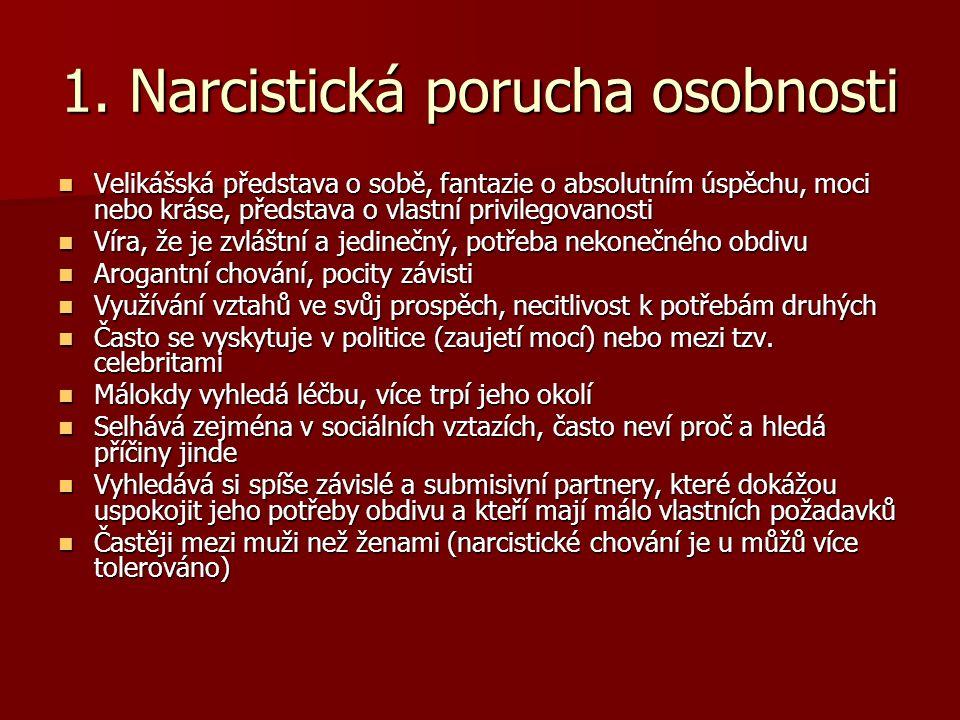 1. Narcistická porucha osobnosti Velikášská představa o sobě, fantazie o absolutním úspěchu, moci nebo kráse, představa o vlastní privilegovanosti Vel