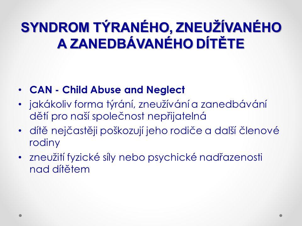 SYNDROM TÝRANÉHO, ZNEUŽÍVANÉHO A ZANEDBÁVANÉHO DÍTĚTE CAN - Child Abuse and Neglect jakákoliv forma týrání, zneužívání a zanedbávání dětí pro naší spo