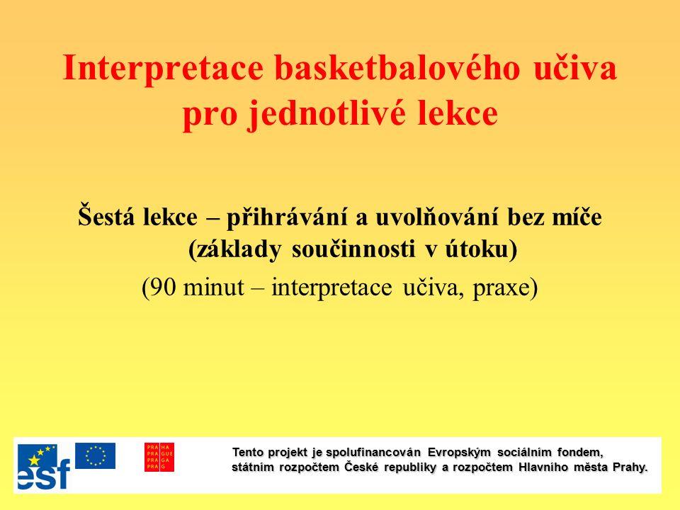 Interpretace basketbalového učiva pro jednotlivé lekce Šestá lekce – přihrávání a uvolňování bez míče (základy součinnosti v útoku) (90 minut – interp