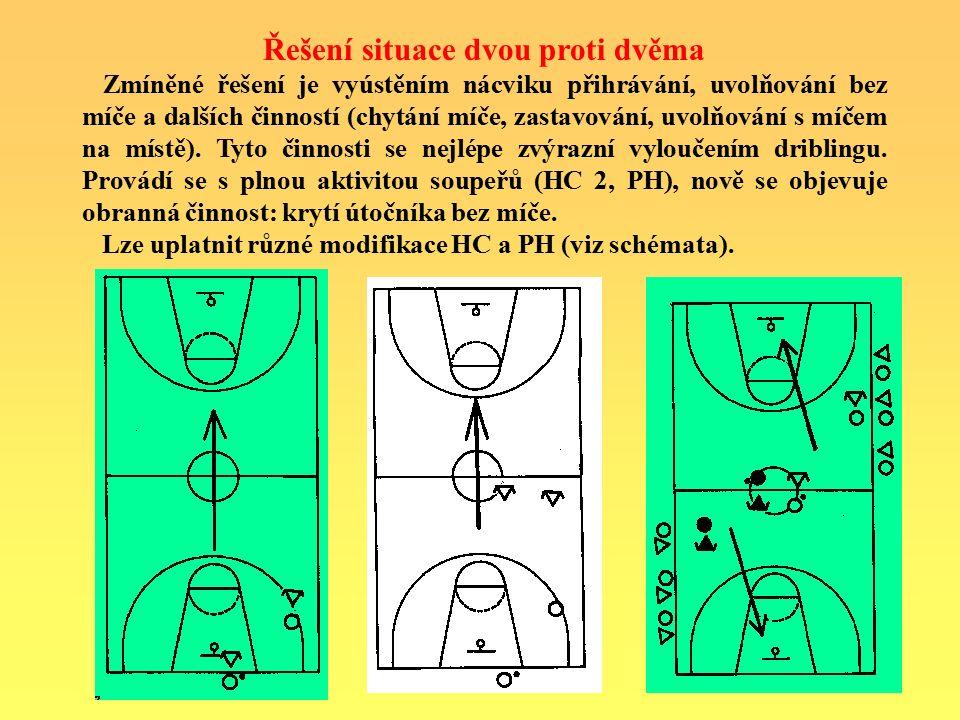 Řešení situace dvou proti dvěma Zmíněné řešení je vyústěním nácviku přihrávání, uvolňování bez míče a dalších činností (chytání míče, zastavování, uvolňování s míčem na místě).