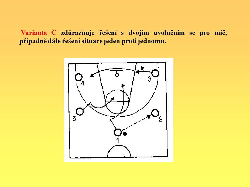 Varianta C zdůrazňuje řešení s dvojím uvolněním se pro míč, případně dále řešení situace jeden proti jednomu.