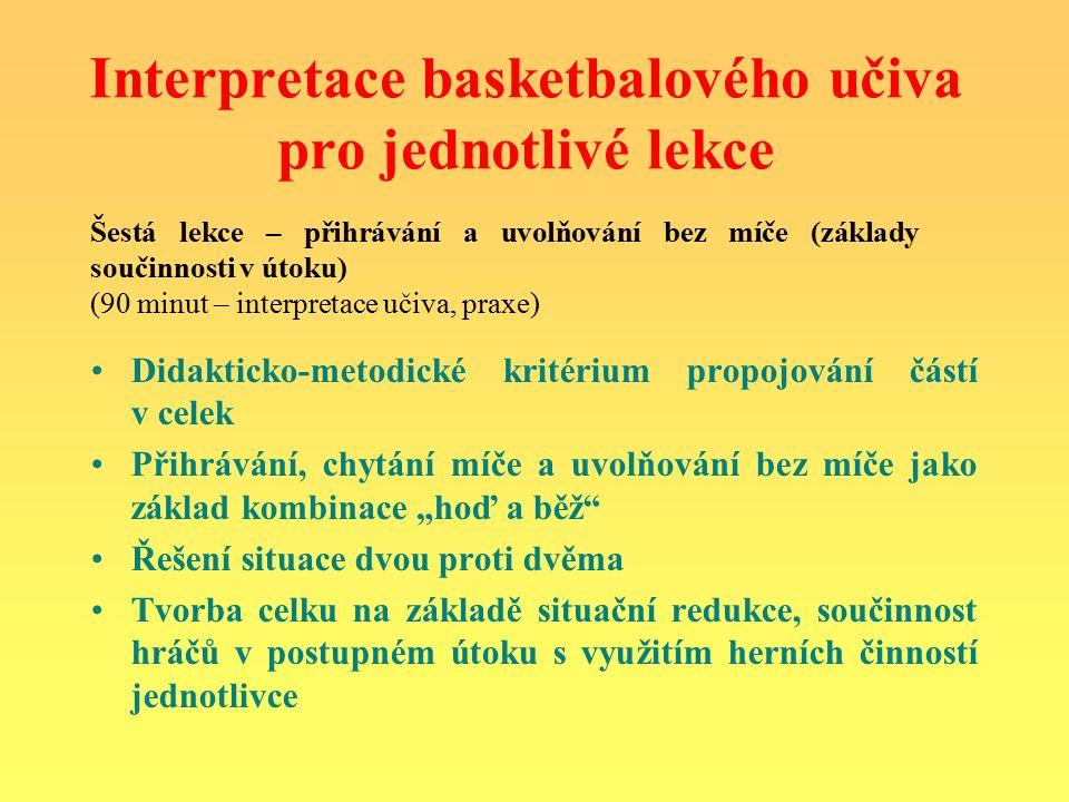 """Interpretace basketbalového učiva pro jednotlivé lekce Didakticko-metodické kritérium propojování částí v celek Přihrávání, chytání míče a uvolňování bez míče jako základ kombinace """"hoď a běž Řešení situace dvou proti dvěma Tvorba celku na základě situační redukce, součinnost hráčů v postupném útoku s využitím herních činností jednotlivce Šestá lekce – přihrávání a uvolňování bez míče (základy součinnosti v útoku) (90 minut – interpretace učiva, praxe)"""