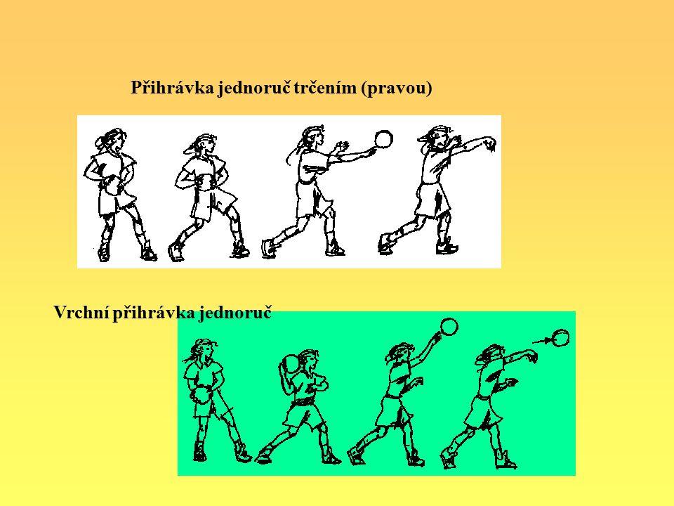 Vrchní přihrávka jednoruč Přihrávka jednoruč trčením (pravou)