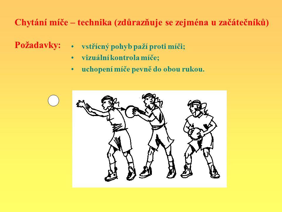 Chytání míče – technika (zdůrazňuje se zejména u začátečníků) Požadavky: vstřícný pohyb paží proti míči; vizuální kontrola míče; uchopení míče pevně do obou rukou.