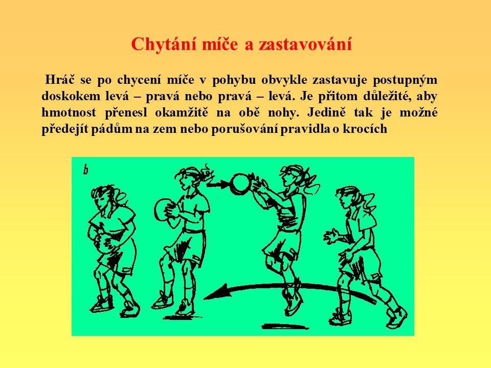 Chytání míče a zastavování Hráč se po chycení míče v pohybu obvykle zastavuje postupným doskokem levá – pravá nebo pravá – levá. Je přitom důležité, a
