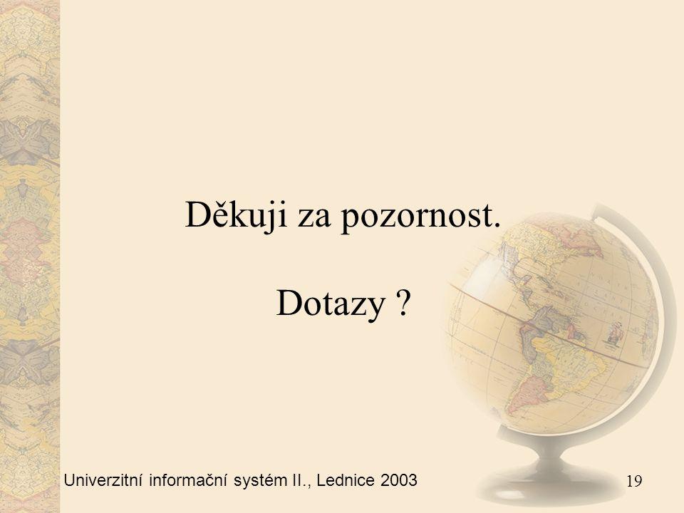 19 Univerzitní informační systém II., Lednice 2003 Děkuji za pozornost. Dotazy
