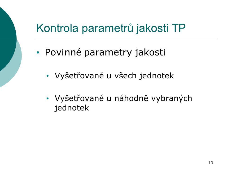 Kontrola parametrů jakosti TP Povinné parametry jakosti Vyšetřované u všech jednotek Vyšetřované u náhodně vybraných jednotek 10