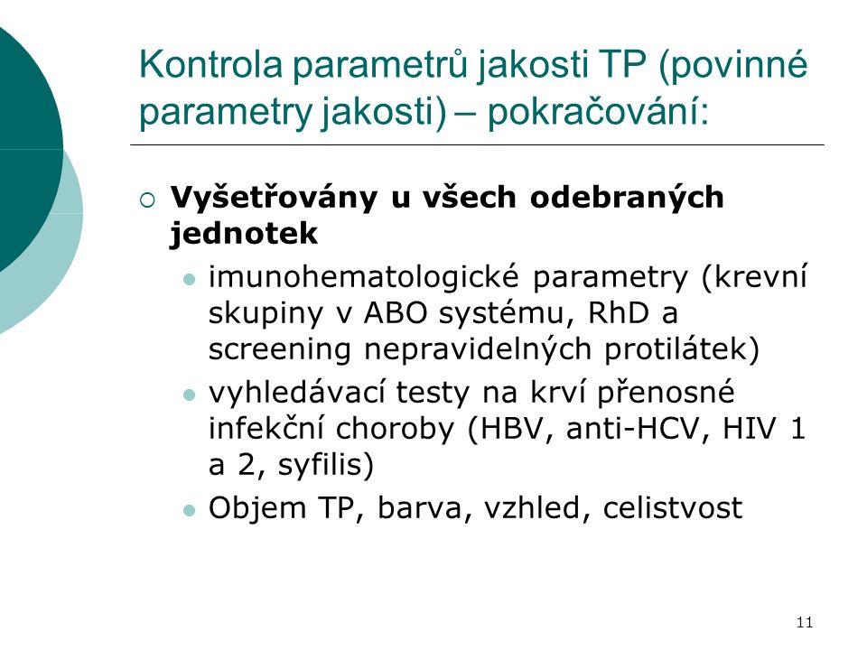 11 Kontrola parametrů jakosti TP (povinné parametry jakosti) – pokračování:  Vyšetřovány u všech odebraných jednotek imunohematologické parametry (krevní skupiny v ABO systému, RhD a screening nepravidelných protilátek) vyhledávací testy na krví přenosné infekční choroby (HBV, anti-HCV, HIV 1 a 2, syfilis) Objem TP, barva, vzhled, celistvost