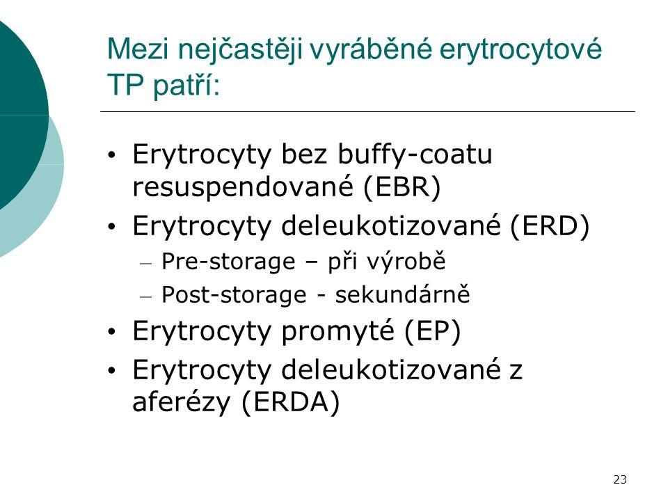 23 Mezi nejčastěji vyráběné erytrocytové TP patří: Erytrocyty bez buffy-coatu resuspendované (EBR) Erytrocyty deleukotizované (ERD) – Pre-storage – při výrobě – Post-storage - sekundárně Erytrocyty promyté (EP) Erytrocyty deleukotizované z aferézy (ERDA)