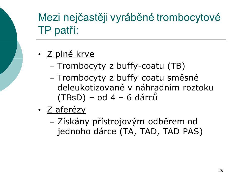 29 Mezi nejčastěji vyráběné trombocytové TP patří: Z plné krve – Trombocyty z buffy-coatu (TB) – Trombocyty z buffy-coatu směsné deleukotizované v náhradním roztoku (TBsD) – od 4 – 6 dárců Z aferézy – Získány přístrojovým odběrem od jednoho dárce (TA, TAD, TAD PAS)