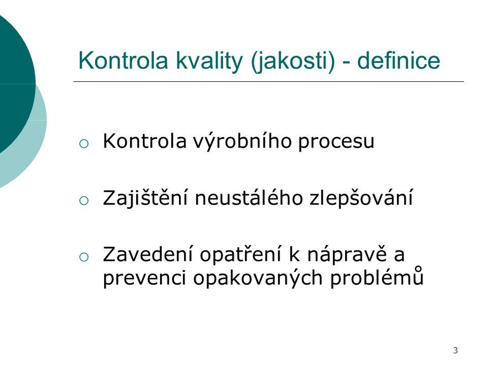 Kontrola kvality (jakosti) - definice o Kontrola výrobního procesu o Zajištění neustálého zlepšování o Zavedení opatření k nápravě a prevenci opakovaných problémů 3