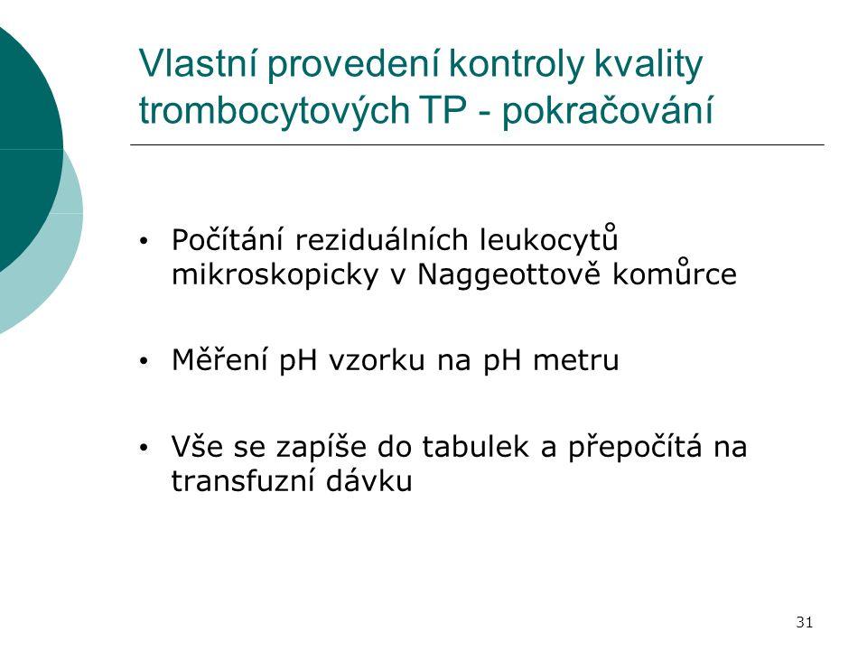 31 Vlastní provedení kontroly kvality trombocytových TP - pokračování Počítání reziduálních leukocytů mikroskopicky v Naggeottově komůrce Měření pH vzorku na pH metru Vše se zapíše do tabulek a přepočítá na transfuzní dávku