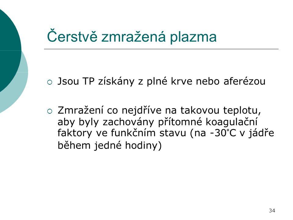 34 Čerstvě zmražená plazma  Jsou TP získány z plné krve nebo aferézou  Zmražení co nejdříve na takovou teplotu, aby byly zachovány přítomné koagulační faktory ve funkčním stavu (na -30°C v jádře během jedné hodiny)